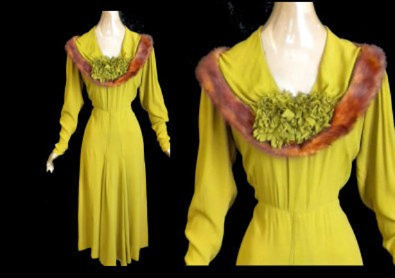 RESERVED FOR LORI  Stunning Vintage 30's 1930's Avocado Green Dress Mink Fur Trim Crepe Day or Party / Cocktail Formal Rare