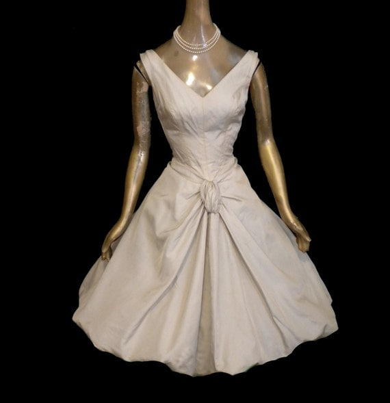 EXQUISITE Vintage 50's COCKTAIL DRESS Party Full Skirt 1950's Mad Men Formal Evening Sleeveless Rockabilly Bubble Skirt