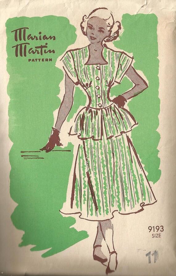 Vintage 40's Sweetheart Neckline & Peplum DRESS Sewing Pattern MARIAN MARTIN 9193 1940's Suit Jacket Blouse Top Shirt New Look Full Skirt