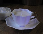 Vintage Coalport frills cream teacup candle