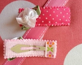 Sweet Rosette Snap Clip-kids Barrettes- baby girl hair bow