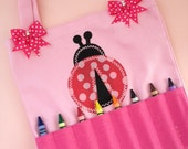 Kids Girls Pink Ladybug Crayon Tote Bag Purse Game Bag Coloring Tote, Busy Bag, Moonbeam Baby