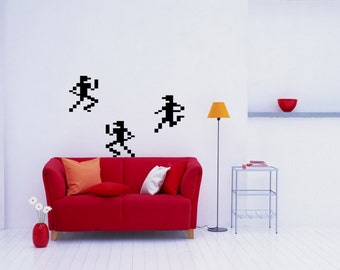 Pixel art 8-bit sprites runners vinyl wall decal retro decor for your playroom  (ID: 111031)
