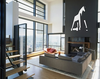 TROJAN horse vinyl wall decal - removable horse wall art for kids room play room 3D decor (ID: 171022)