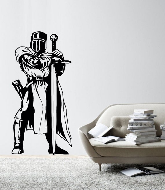 Fiction Medieval warrior knight vinyl wall decal large (ID: 171002)
