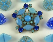 VINTAGE Glass & Rhinestone Buttons...Vintage Glass Buttons...Turquoise Blue Glass...Square..Vintage Mix...Lot 15L