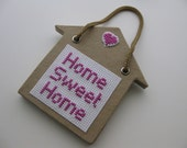 Cross Stitch Home Sweet Home Plaque