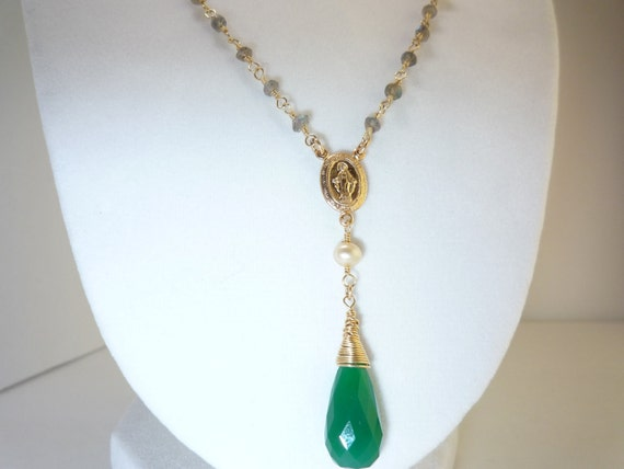 Wire Wrapped Labradorite And Pearl Rosary Style Necklace With Green Chalcedony Briolette And Religious Charm