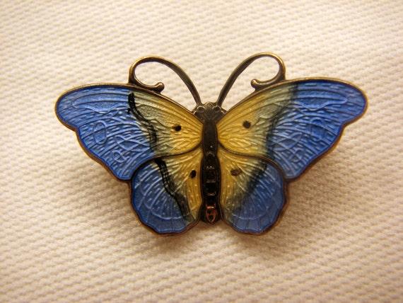REDUCED AGAIN  -- Vintage Sterling Enamel Norway Butterfly Brooch Hroar Prydz