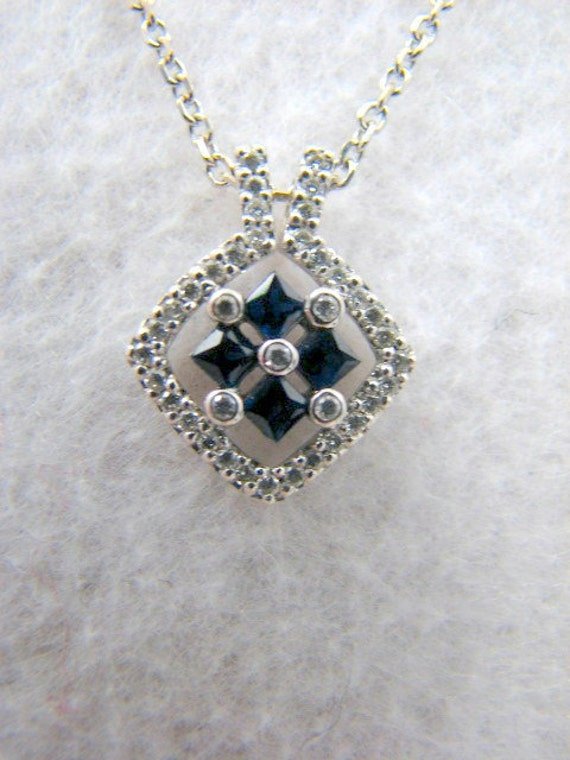 0.50 ct Real Princess Sapphire & Diamond Accented 14k Pendant Necklace --14k White Gold