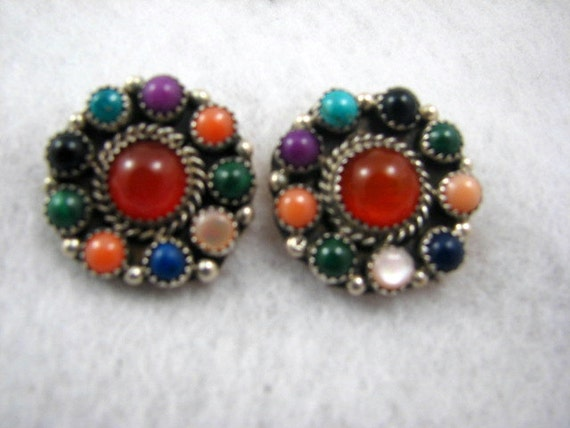 NAVAJO JOHNNY JOHNSON Multi-Stone Earrings -- 15.3g