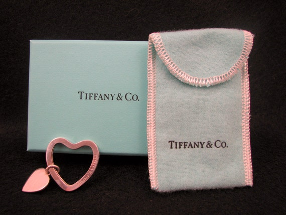 "RETIRED AUTHENTIC Tiffany & Co. Sterling Silver Split Ring Key Ring ""Heart on Heart"" -- Engraveable"