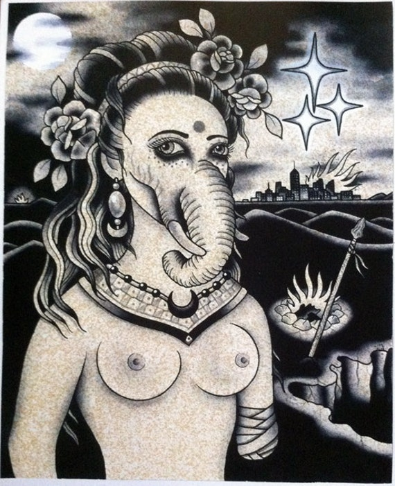 The Elephant Girl - Ashley Riot print