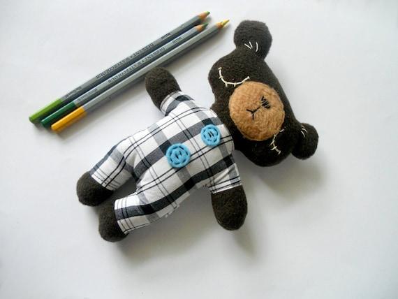Stuffed HandmadeTeddy Bear Button Decor Plushie Safe Soft Softie Toddler  BabyToy for Children Cotton Polar Fleece Felt Brown
