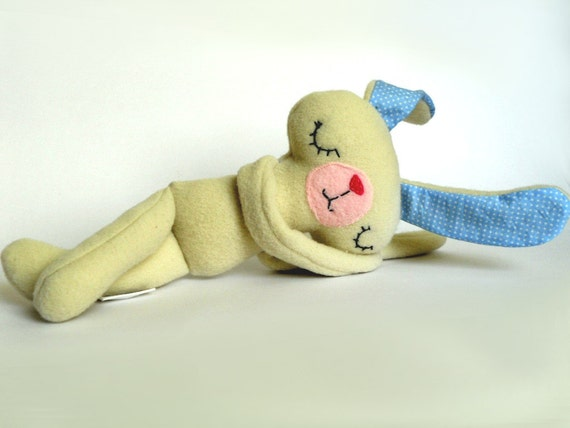 Stuffed Animal Handmade White Bunny Plush Plushie Safe Soft Softie BabyToy for Children Cotton Polar Fleece Blue and white