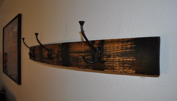 Barrel stave coat rack