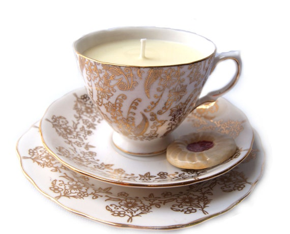 Vintage Tea Cup Candle and Ceramic Biscuit
