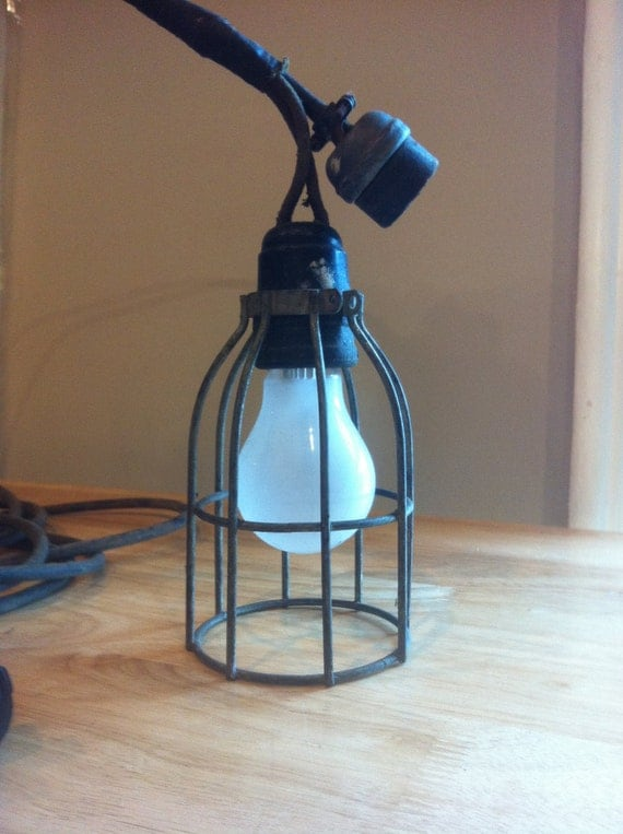 Old Industrial Light with Cage From Old Barn - YOU DESERVE IT