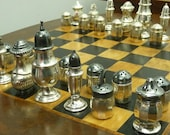 Sterling 925  Salt & Pepper chess Sixteen pair (BOARD GAME NOT  included)