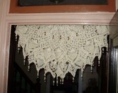 vintage crocheted and beaded door or wall hanging