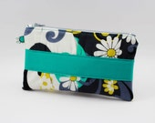 Ruffled Gray & Teal Print Zipper Wallet or Pouch