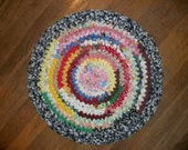 Crochted Rag Rug Style Chair Pad or Table Centerpiece/Trivet