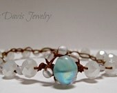 White crystal crochet bracelet, white ab, turquoise, boho chic, single wrap