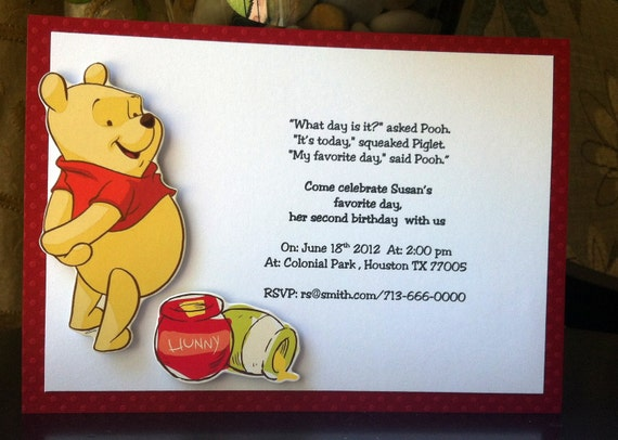 12 invitations for a Winnie the Pooh Themed party