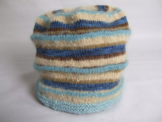 Knitted Wool Hat Blue and Cream