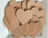 "48 - 1.75"" Kraft Scallop Hearts for gift tags, embellishments, photo mounts and more."