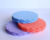 24 - 3 inch Scallop Circles for gift tags, embellishments, scrapbooking and more.  Your choice of color.