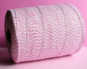 SALE - 100 Yards Pink Bakers Twine, Pink Twine, Pink & White Twine, Packaging Twine, Pink Garland