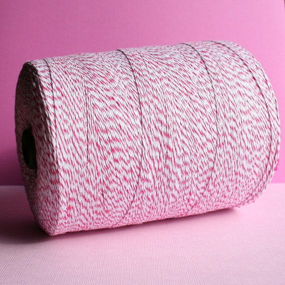 Pink Bakers Twine, Striped Twine, Pink Garland, Pink & White Twine, Packaging Twine - 50 Yards
