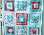 SPRING SALE 15% OFF  Red and Aqua Log Cabin Quilt