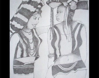 African Ladies Prints Version 2 Hand Drawn Pencil Drawing