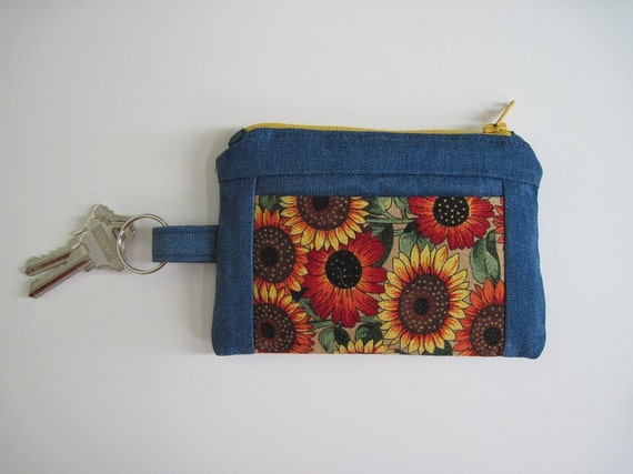 Sunflower Denim Wallet, Zipper Coin Wallet with Key Ring and Pockets, 5.25 x 3.5 inches