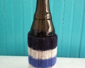 FREE SHIPPING Koozie, blue, gray stripes, repurposed sweater, felted can or bottle cozy