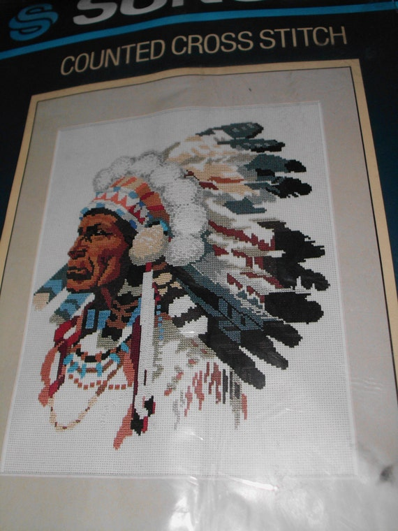 Sunset Counted Cross Stitch Indian Chief Kit New