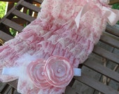 Soft Pink and Ivory lace petti romper and headband