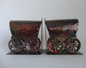 VINTAGE metal covered wagon brutalist style BOOKENDS
