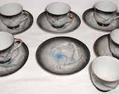 Moriage Dragonware Lithophane 6 Cups and 6 Saucers