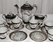 Dragonware Moriage Chocolate Demitasse Tea Set