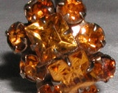 Vintage Hat Pin Faceted Amber Stones