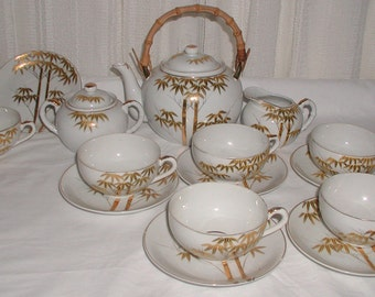 Beautiful Gold and White Lithophane Tea Set Made in Japan