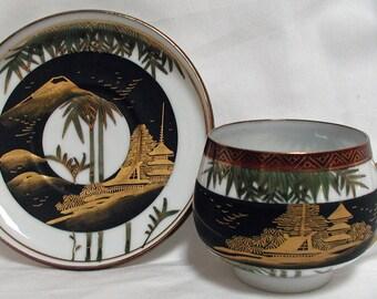 Kutaniyaki Lithophane Cup and Saucer