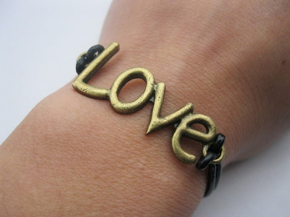 Bracelet-antique bronze love bracelet,love cuff
