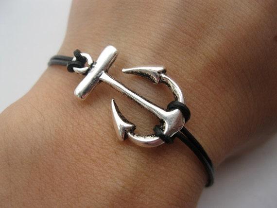Bracelet-antique silver anchor bracelet,anchor real leather bracelet
