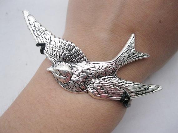 Bracelet-antique silver bird bracelet,black reall leather  bracelet