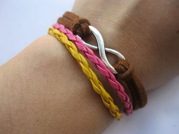 Bracelet-antique silver Infinity Bracelet,infinity symbol bracelet,colorful infinity bracelet