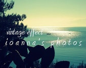 Digital Fine Art Photography Download 8''x10'' Blue Greek Sea, Sky, Boat and Cactus Nature Vintage Lomo Effect by ioanna's photos